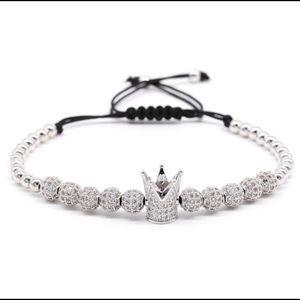 New Fashion Silver CZ Balls Crown Beads Bracelet